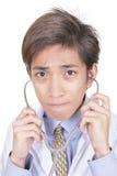 Ongerust gemaakt Aziatisch artsenportret Royalty-vrije Stock Foto's