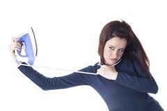 Ongerust gemaakt die meisje door ijzer wordt gehangen Royalty-vrije Stock Foto