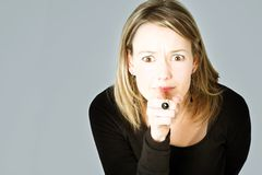 Ongerust gemaakte blond Stock Fotografie