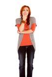 Ongerust gemaakte Rode Haired Vrouw Royalty-vrije Stock Afbeelding