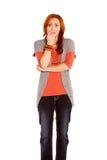 Ongerust gemaakte Rode Haired Vrouw Royalty-vrije Stock Afbeeldingen