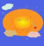 Ongeschoren die gezicht van de Zon, door wolken, dichtbij de ochtend st wordt behandeld Stock Foto