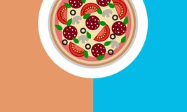 Ongesneden ronde pizza op de ruimte 3D illustratie van het lijstexemplaar royalty-vrije illustratie