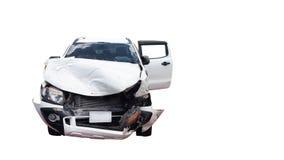 Ongeval beschadigde auto stock afbeelding