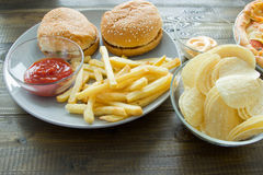 Ongezond concept Ongezond Voedsel Stock Foto