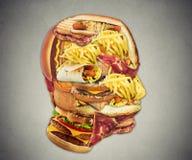 Ongezond het concepten snel voedsel van de dieetgezondheid in vorm van menselijk hoofd stock foto's