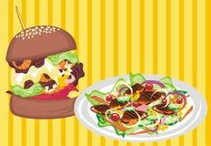 Ongezonde kost VERSUS Gezond Voedsel vector illustratie
