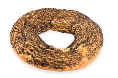 Ongezuurd broodje dat met een papaver wordt behandeld Stock Afbeelding