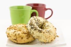 Ongezuurd broodjeontbijt voor twee Royalty-vrije Stock Afbeeldingen