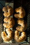 Ongezuurde broodjes met van de vlasbloem en papaver zaden stock afbeeldingen