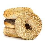 Ongezuurde broodjes op wit worden geïsoleerd dat Royalty-vrije Stock Foto's