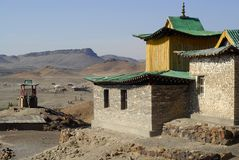 Ongi Monastery, Mongolia. The ruins and rebuilding of Ongi Monastery, one of Mongolia's former centres of Buddhist learning before being destroyed by Russian royalty free stock photo
