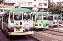 Ongkong bus. Small buses lined in Hongkong Stock Photo
