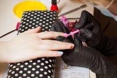Ongles manucurés roses de femme et bleus fabriqués à la main point par point Images libres de droits