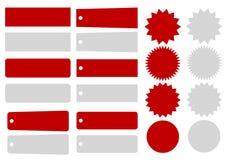 Onglets au détail, insignes et bavures d'E illustration libre de droits