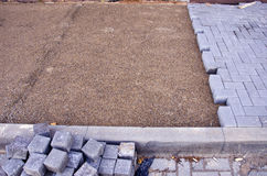 Ongoing work of paving Stock Photos