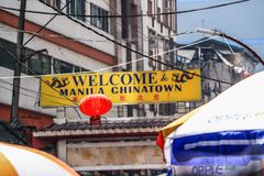 Ongpin gata i Binondo, Manila royaltyfria foton