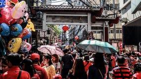 Ongpin gata i Binondo, Manila royaltyfri fotografi