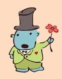 ?ongratulation. Cão com uma flor. Fotografia de Stock