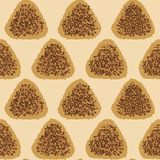 Onigiri fried with soy sauce. Seamless pattern. Royalty Free Stock Photos