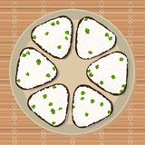 Onigiri with green peas wrapped with nori seaweed. Onigiri with green peas. Triangle rice balls wrapped with nori seaweed. Illustration. Japanese cuisine. Lunch Stock Image