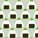 Onigiri with green tobiko roe. Seamless pattern. Onigiri topped with green tobiko roe. Seamless pattern. Triangle rice balls wrapped with nori seaweed Stock Photography