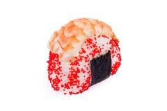 Onigiri mit einem shrimpon auf einem weißen Hintergrund Stockfoto