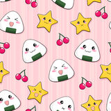 Onigiri pattern. Seamless pattern with manga style onigiri (japanese rice balls Stock Photo