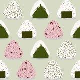 Onigiri pattern. Japanese rice balls. Seamless. Onigiri pattern. Japanese sticky rice ball. Seamless pattern. Asian snack. Wakame seaweed, perilla leaf Shiso Stock Image