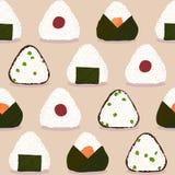 Onigiri pattern. Japanese dish. Rice ball types. Onigiri pattern. Japanese sticky rice balls. Seamless pattern. Stuffed with green peas. With Pickled plum Stock Photo