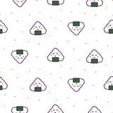 Onigiri rice ball japan seamless vector pattern. Japan food cartoon background Stock Photos