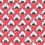 Onigiri rice ball seamless red pattern. Japan food cartoon background Royalty Free Stock Photography