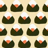 Onigiri seamless pattern. Filled with salmon. Asian snacks wrapped in seaweeds. Pescatarian dish. Sticky rice balls. Japanese cuisine. Illustration. Lunch Royalty Free Stock Photos