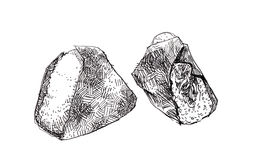 Onigiri sketch doodle illustration. Japanese triangle rice ball Stock Photos