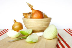 Onion. Splited onions and onion in one piece Royalty Free Stock Images