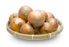 Onion in the bamboo basket Stock Image