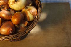 Onion basket Royalty Free Stock Photos