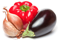 Onion, bellpepper and brinjal Stock Image