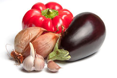 Onion, bellpepper, garlic and brinjal Royalty Free Stock Images