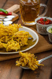 Onion bhajis, czech beer Royalty Free Stock Images