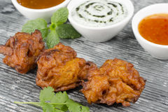 Onion Bhajis & Mint Raita Royalty Free Stock Photo