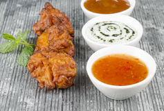 Onion Bhajis & Mint Raita Royalty Free Stock Photos