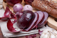 Onion, bread and garlic Stock Image