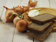 Onion and bread Stock Photography