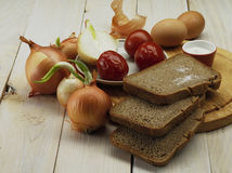 Onion and bread Stock Images