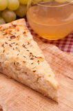 Onion cake with new made wine Royalty Free Stock Photo