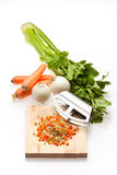Onion, Carrot and Celery. Basic ingredients for a lot of mediterranean gourmet recipes Stock Images