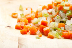 Onion, Carrot and Celery. Basic ingredients for a lot of mediterranean gourmet recipes Royalty Free Stock Images