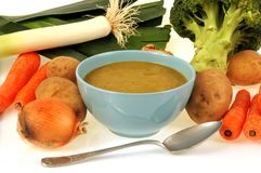 Bowl of homemade vegetable soup with its ingredients royalty free stock photography