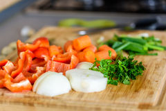Onion, Carrots, Bell Peppers, Garlic And Parsley Raw Vegetables Ingredients Stock Image